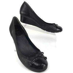 COLE HAAN Black Leather Wedge Cap Toe Shoes Sz 7.5